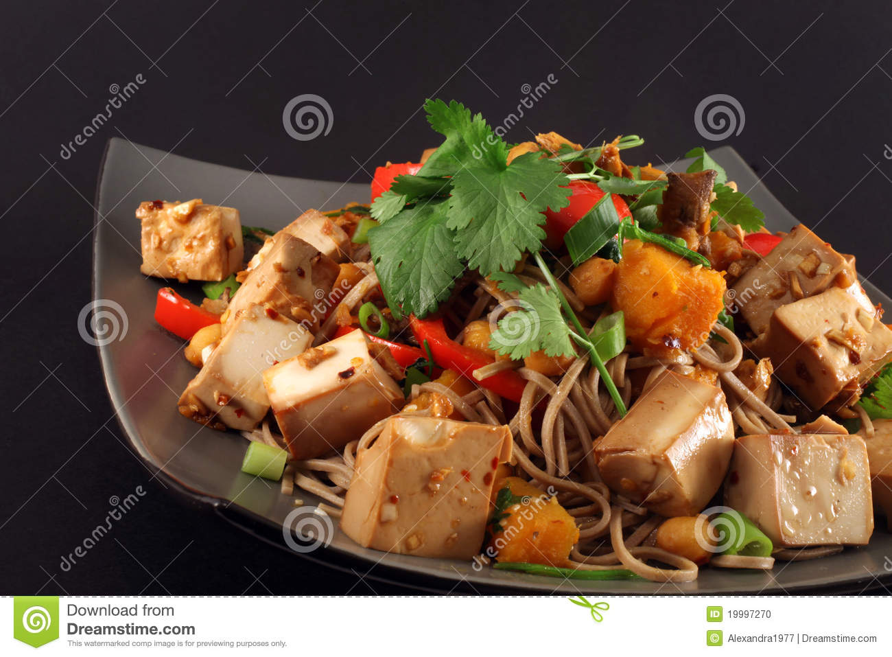 Vegetarian tofu ginger stir fry with red bell pepper, garlic, soba ...