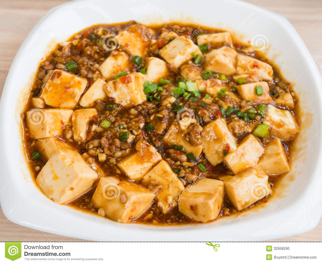 Tofu And Mince With Hot Spicy Sauce Stock Photo - Image: 32958290
