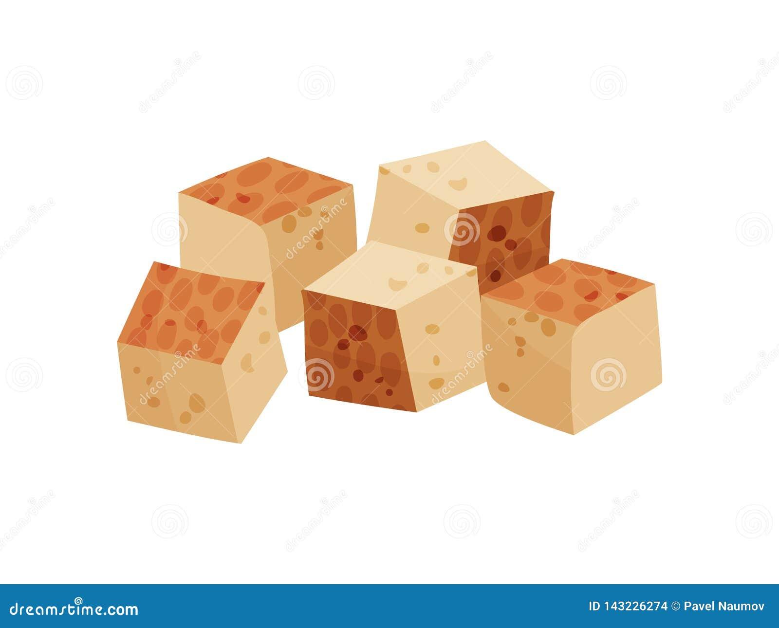 Tofu op witte achtergrond Vector vlakke illustratie