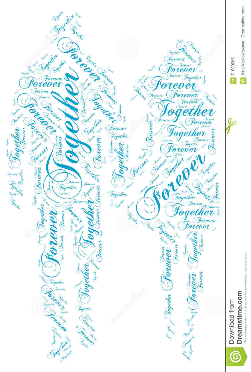 Walking In Love Clip Art: Together Forever: Love Word Cloud Tag Stock Illustration