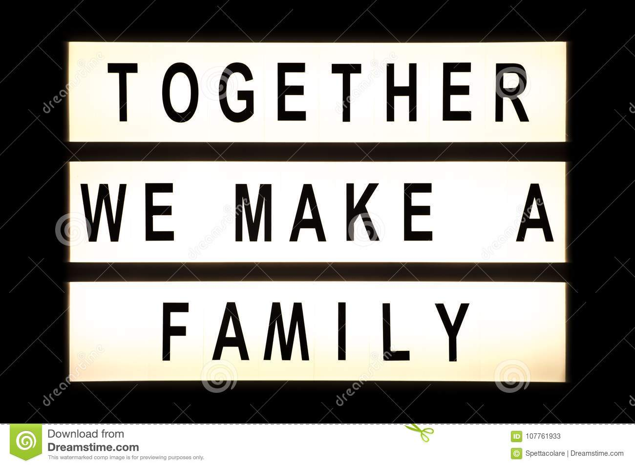 Together We Make A Family Hanging Light Box Stock Image - Image of