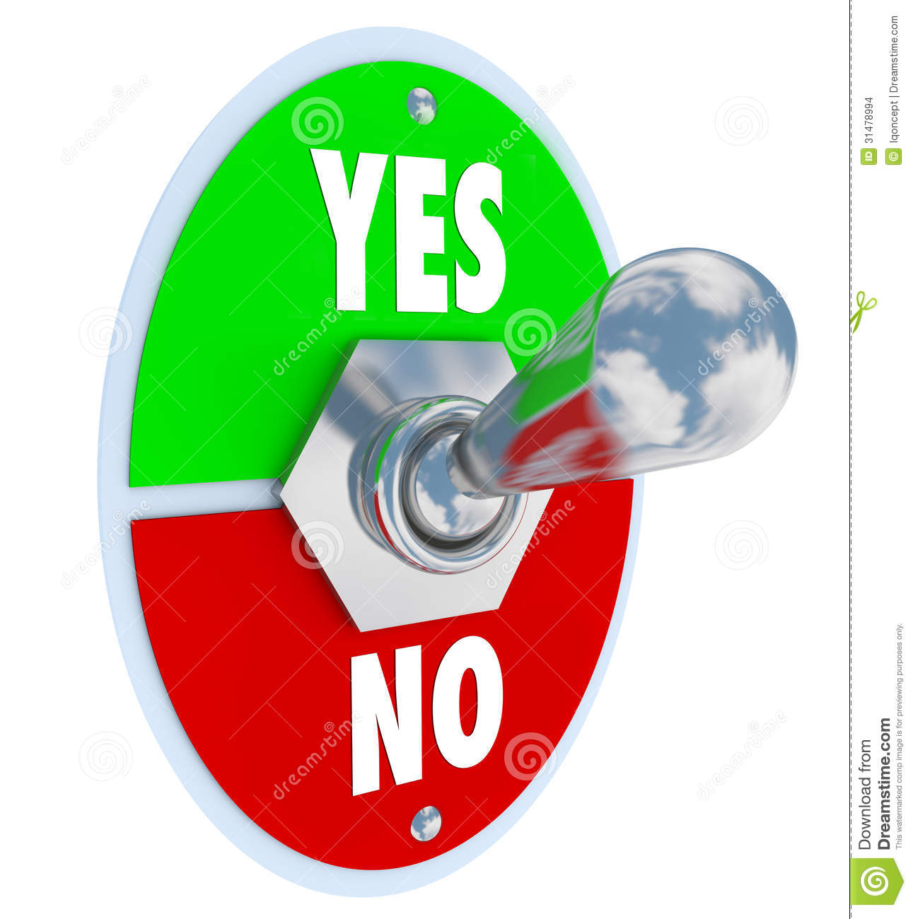 No Approval Needed : Toggle switch lever yes no approval or rejection stock