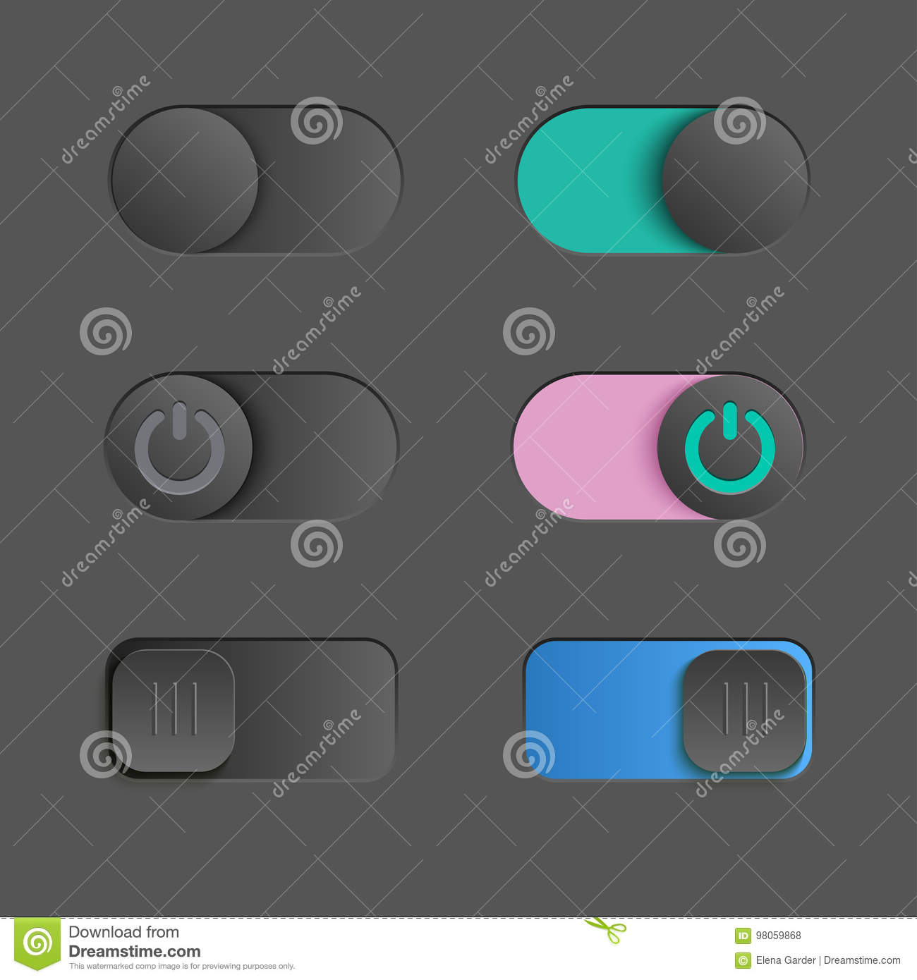 Toggle Switch Set, On And Off Sliders, Vector Elements For Your ...