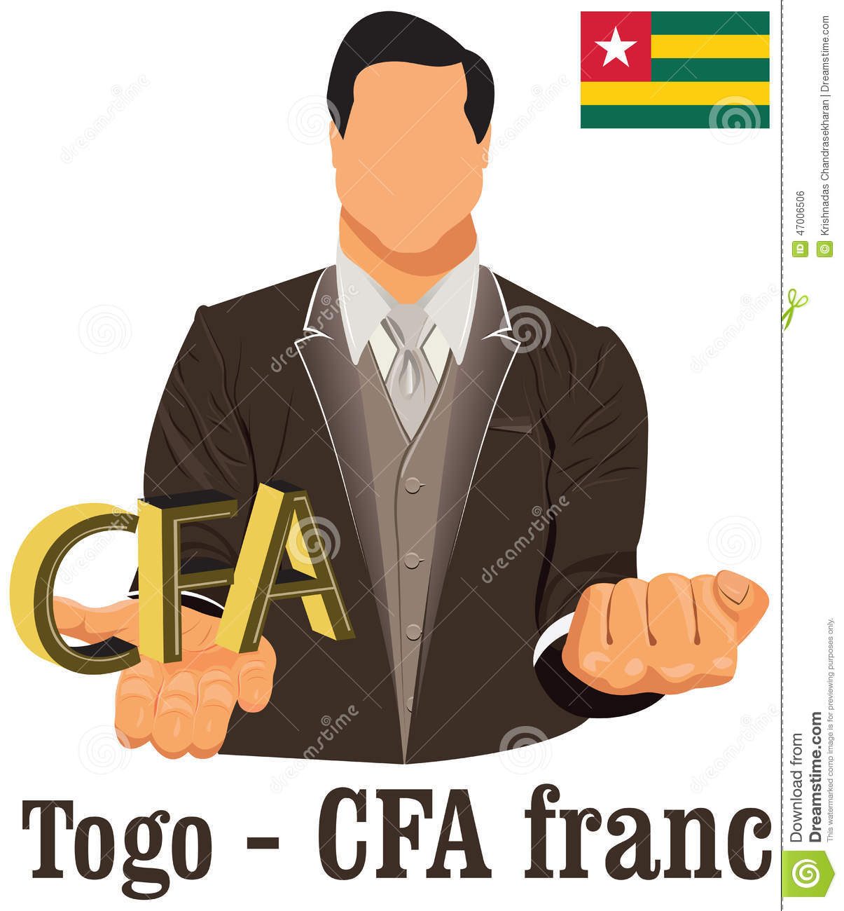 Togo Currency Symbol Cfa Franc Representing Money And Flag Stock