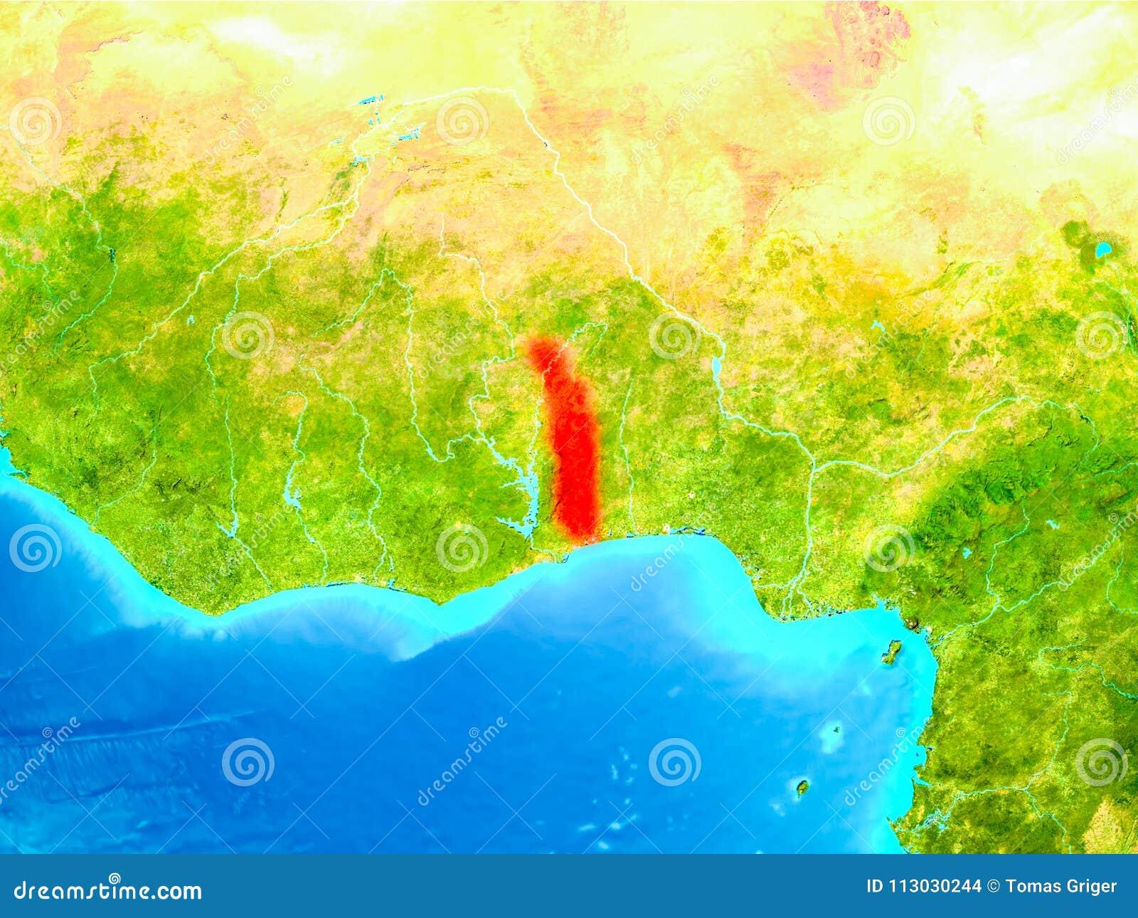 Togo en rojo en la tierra
