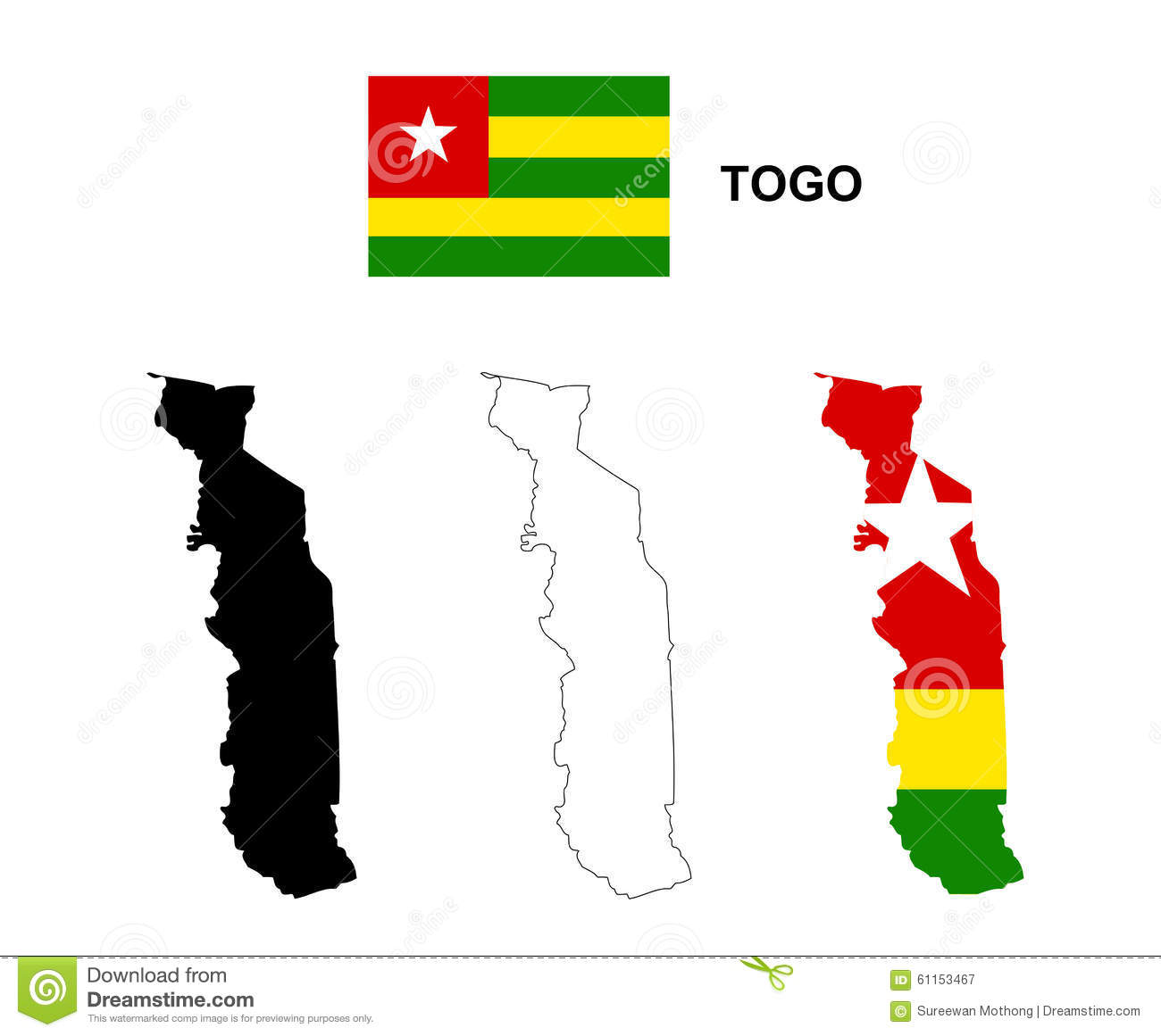 Togo Map And Flag
