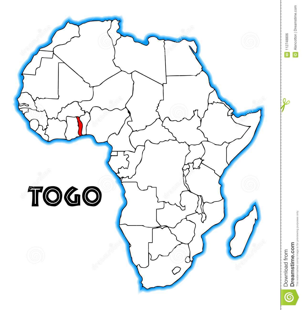 Togo Africa Map stock vector. Illustration of nobody   112748806