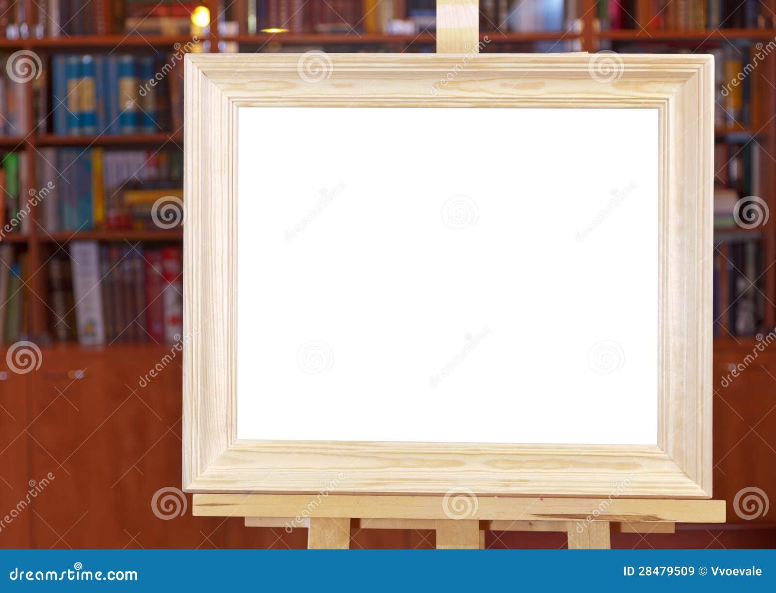 toile blanche de cadre de tableau en bois large sur le. Black Bedroom Furniture Sets. Home Design Ideas