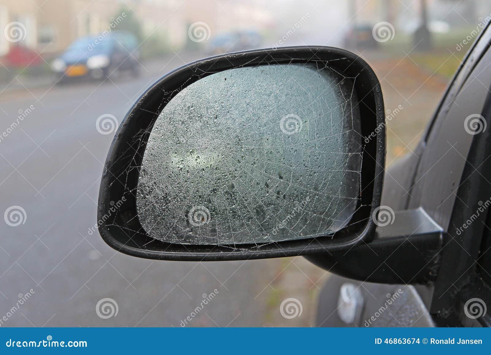 Toile d 39 araign e sur un miroir de voiture photo stock for Miroir pour voiture