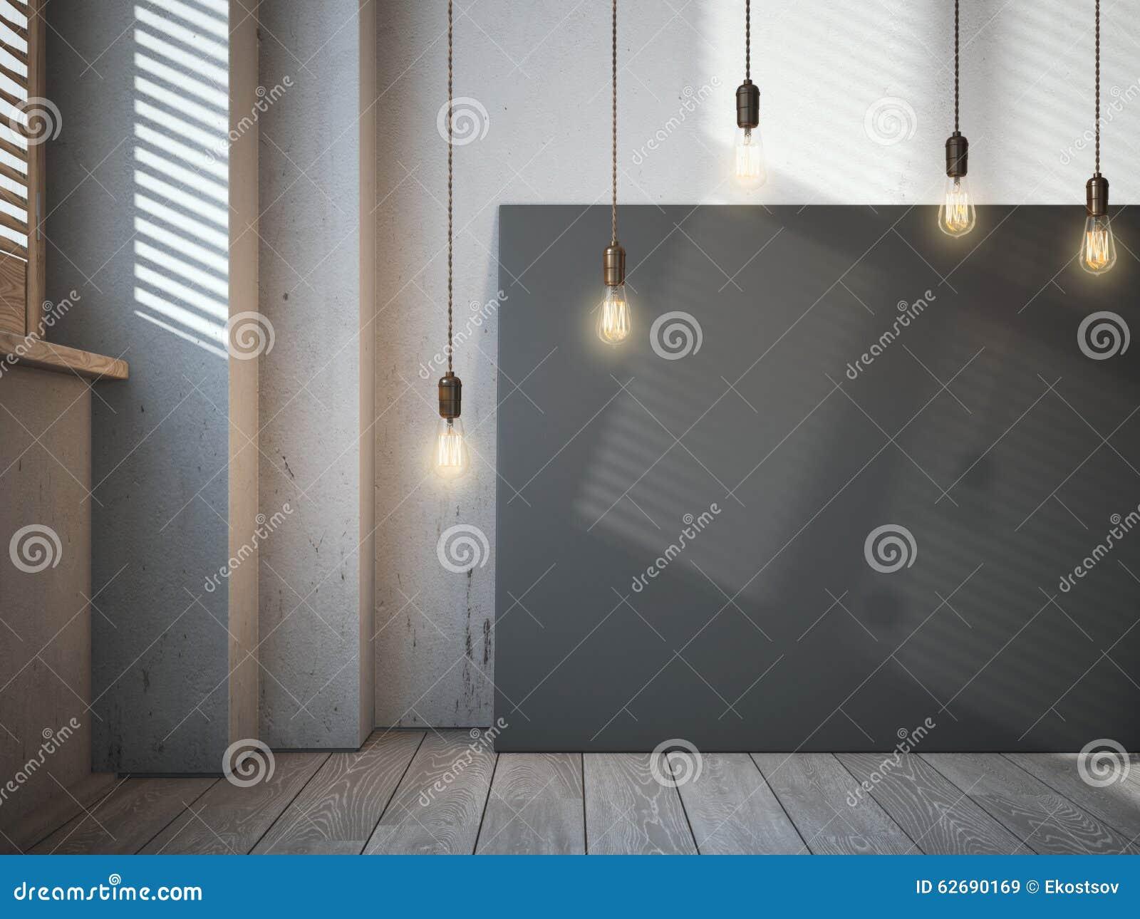 Toile noire vide avec les ampoules rougeoyantes dans l intérieur de grenier
