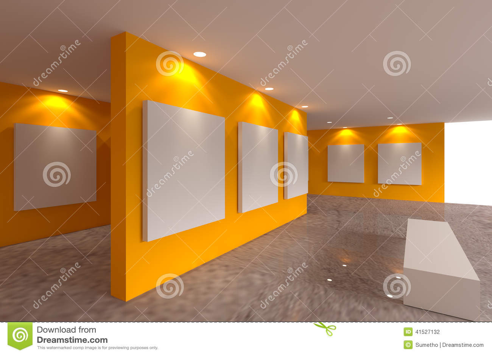 toile sur le mur orange dans la galerie illustration stock image 41527132. Black Bedroom Furniture Sets. Home Design Ideas
