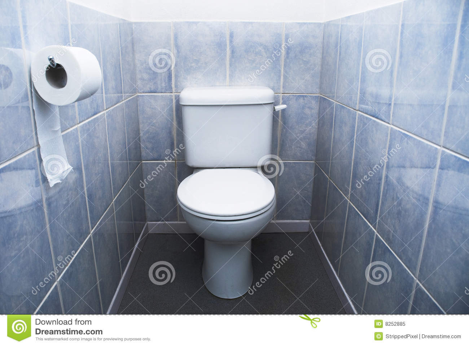 Toilet With Aqua Blue Tiles Royalty Free Stock Photo
