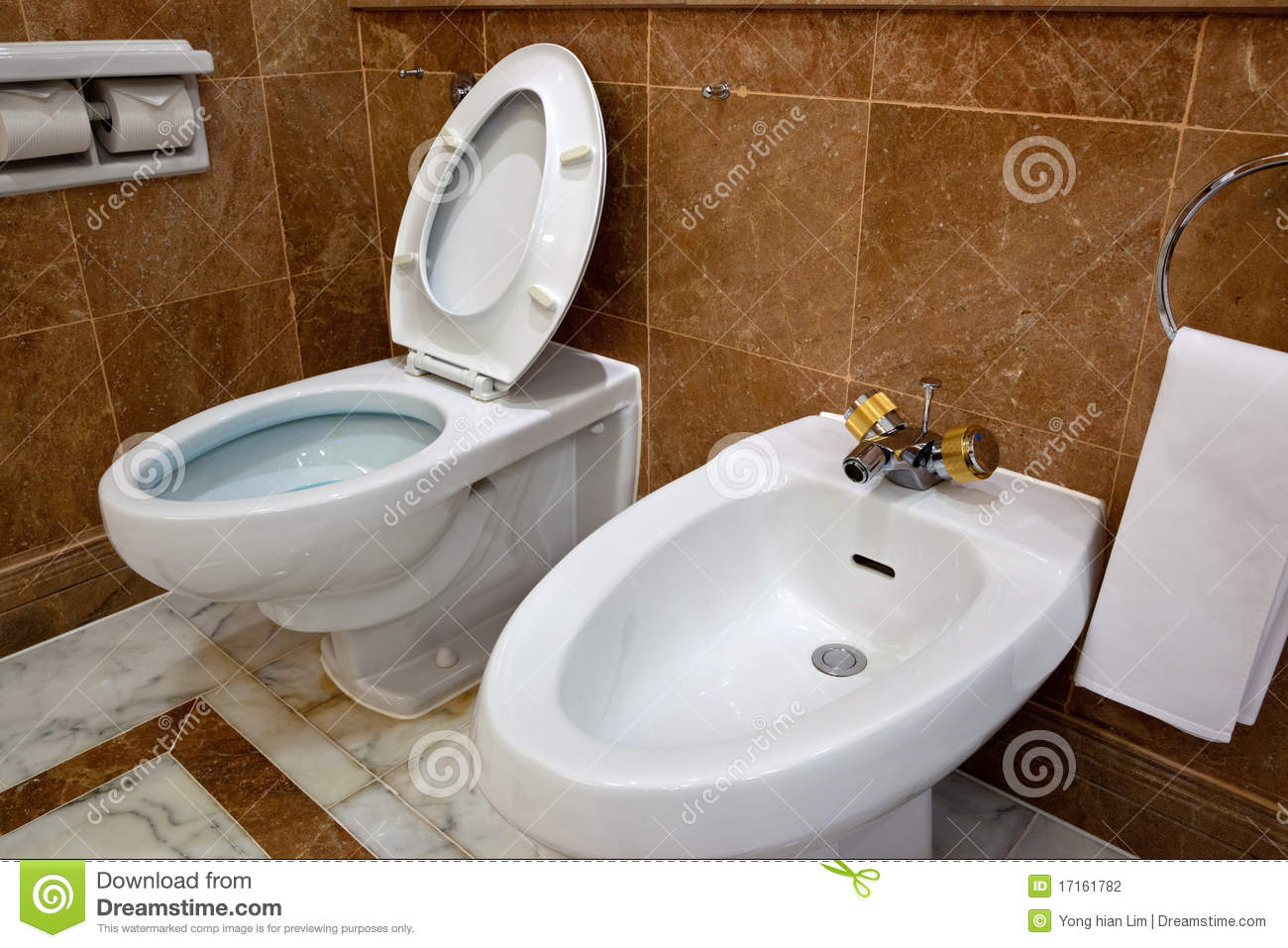 Toilet And Bidet In Hotel Bathroom Stock Photo Image Of