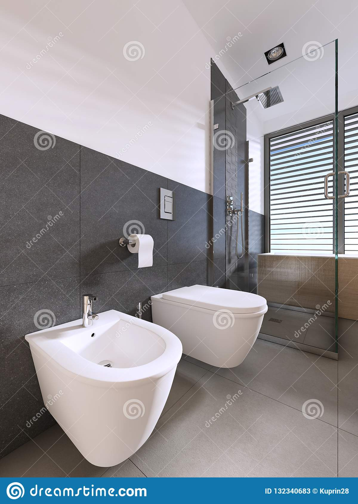 Toilet And Bidet Modern Bathroom Of Scandinavian Style Stock - Amazing-toilets-and-bidets-collection-from-stile