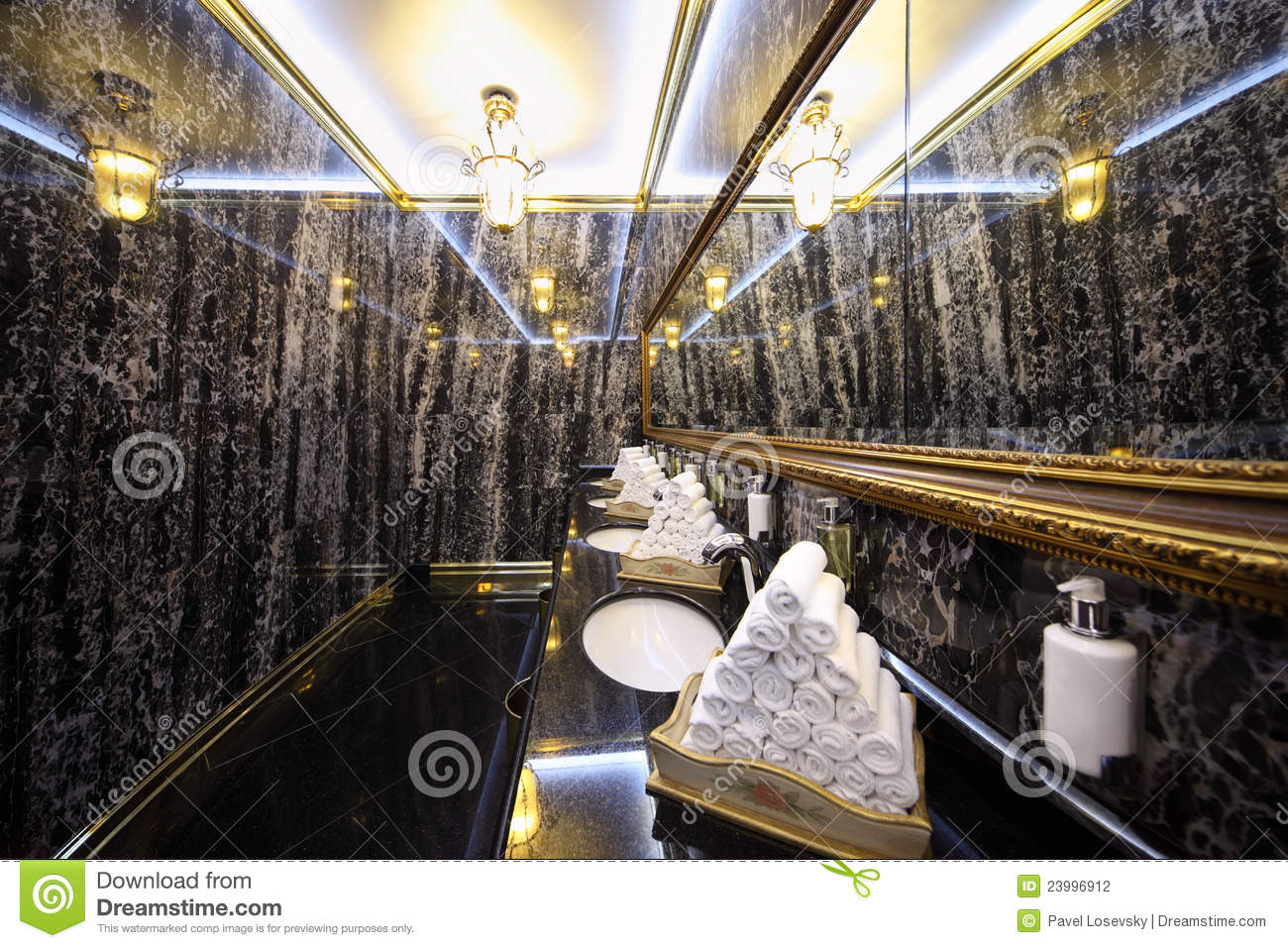 Toilet With Black Marble Walls In Hotel Ukraine Editorial