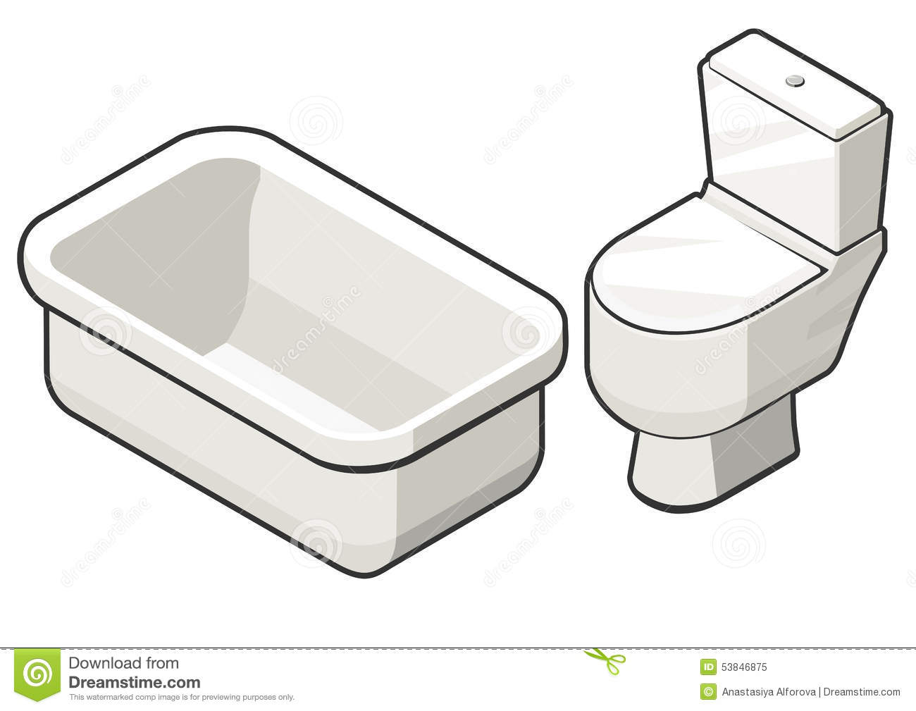 Toilet Bowl And Bath Stock Vector - Image: 53846875