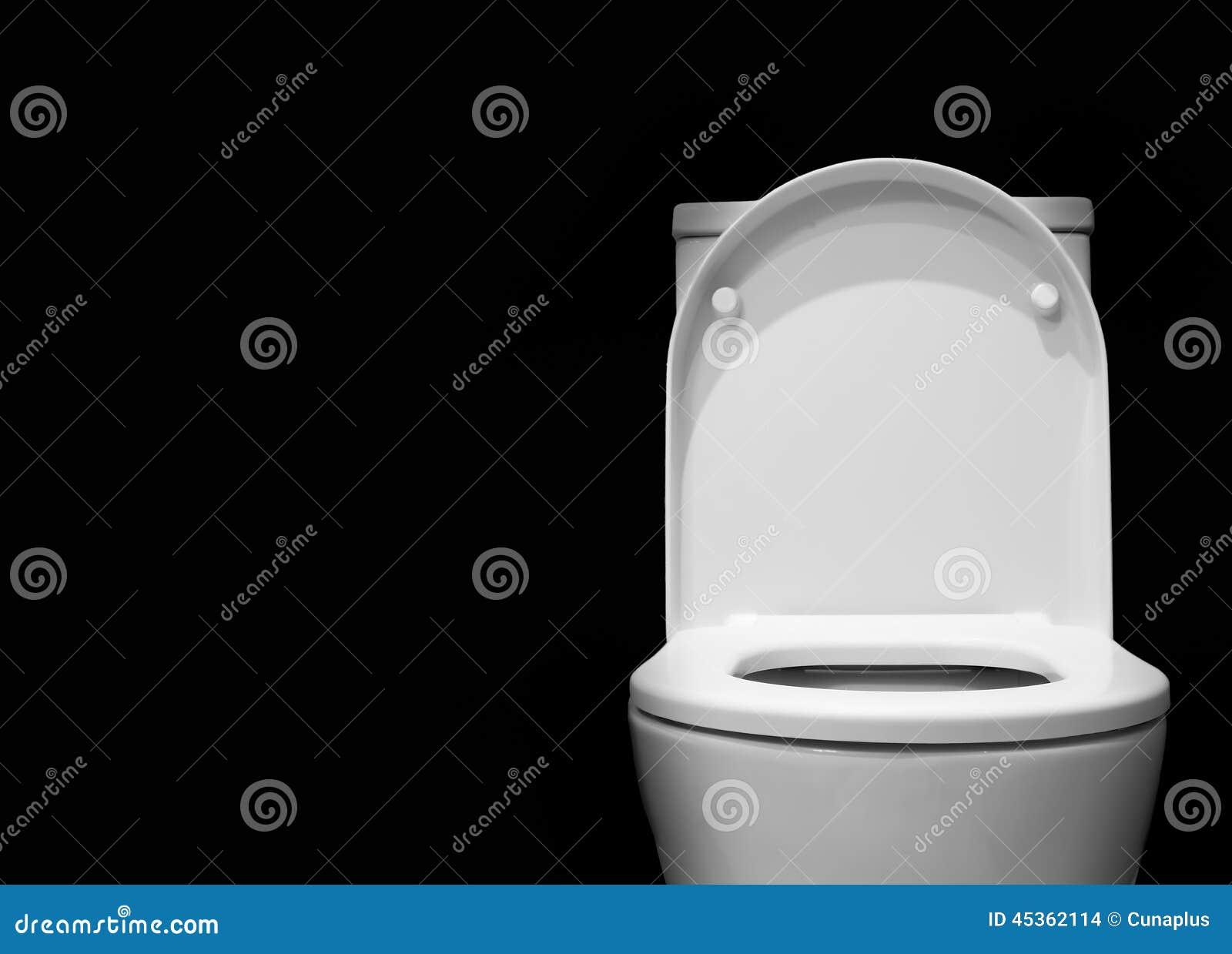 Toilet Bowl With Black Background Stock Photo Image - White toilet with black seat