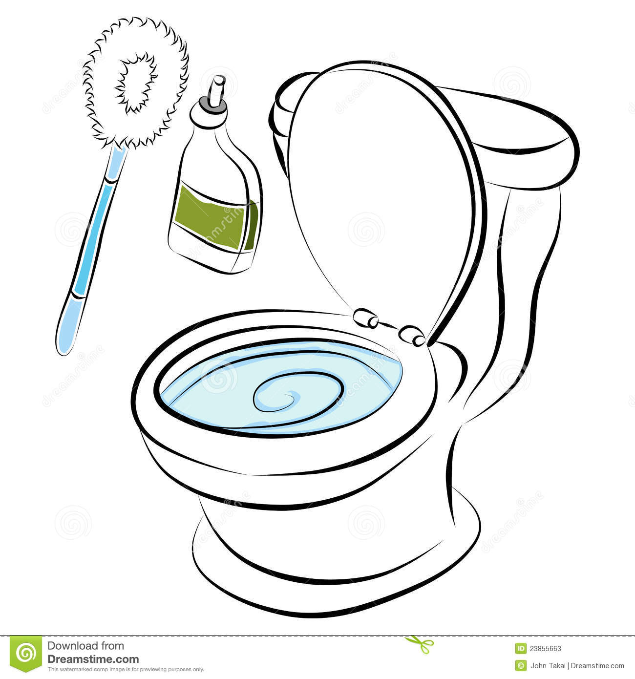 Toilet bowl cleaning tools stock vector image of open for Nettoyer salle de bain