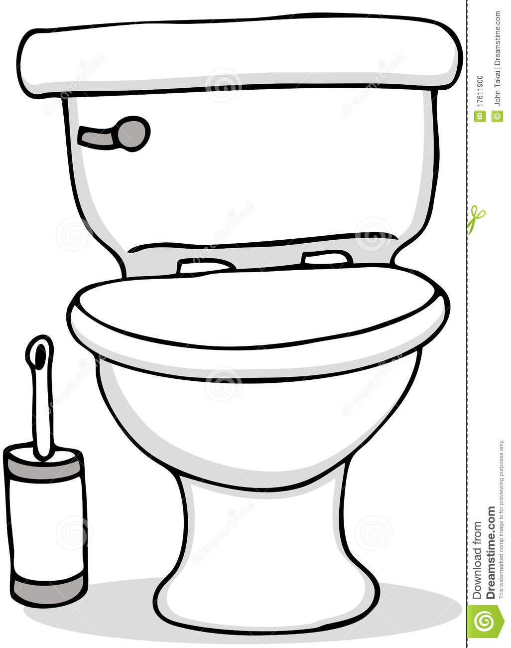 toilet and cleaning brush stock vector image of doodle