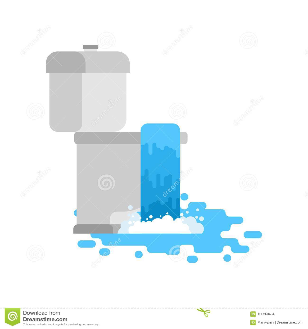 Toilet Is Clogged With Water Leaking Out. Vector Illustration Stock ...
