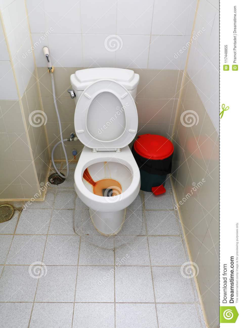 Toilet Dirty Closet Rusty Water And Male Urine In Office Stock Image