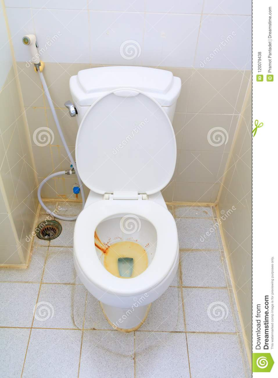 Toilet Dirty Closet Rusty Water In Public With Copy Space Stock