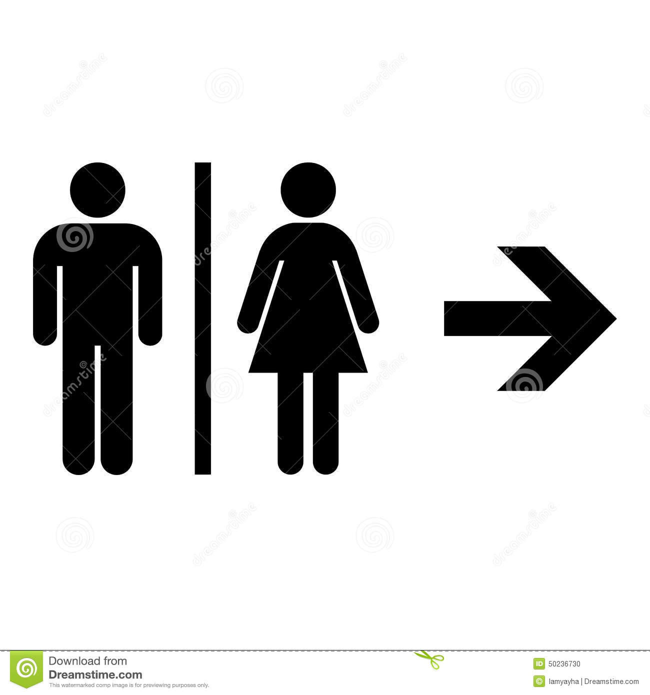 Toilet Flat Icon And Arrow. Vector Illustration Eps10