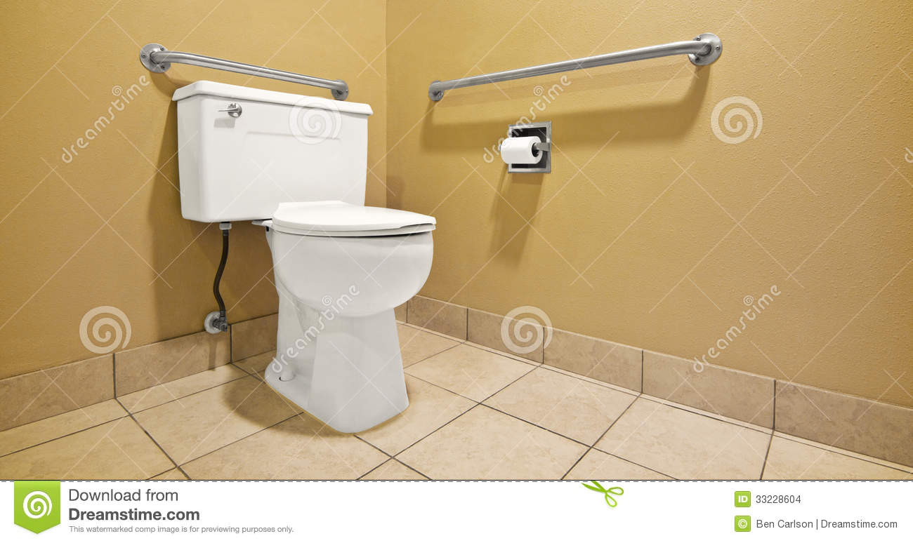 Toilet With Handicap Wall Handles Stock Images Image