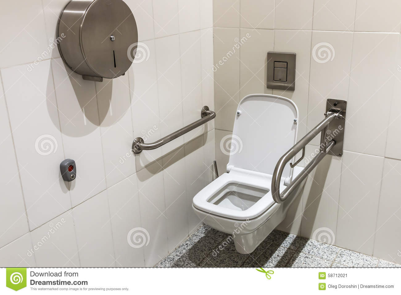 Toilet With Handrails For The Disabled Stock Image - Image of house ...