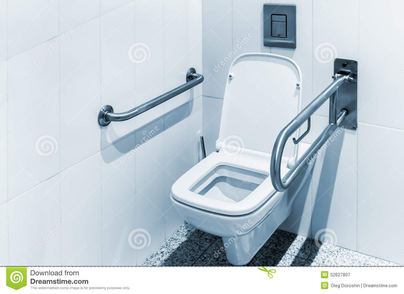 Toilet With Handrails For The Disabled Stock Image - Image of black ...