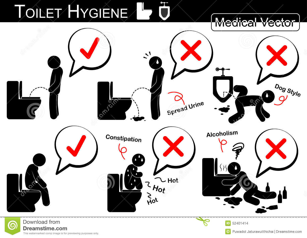 Toilet Hygiene Stick Man Vector Stock Image