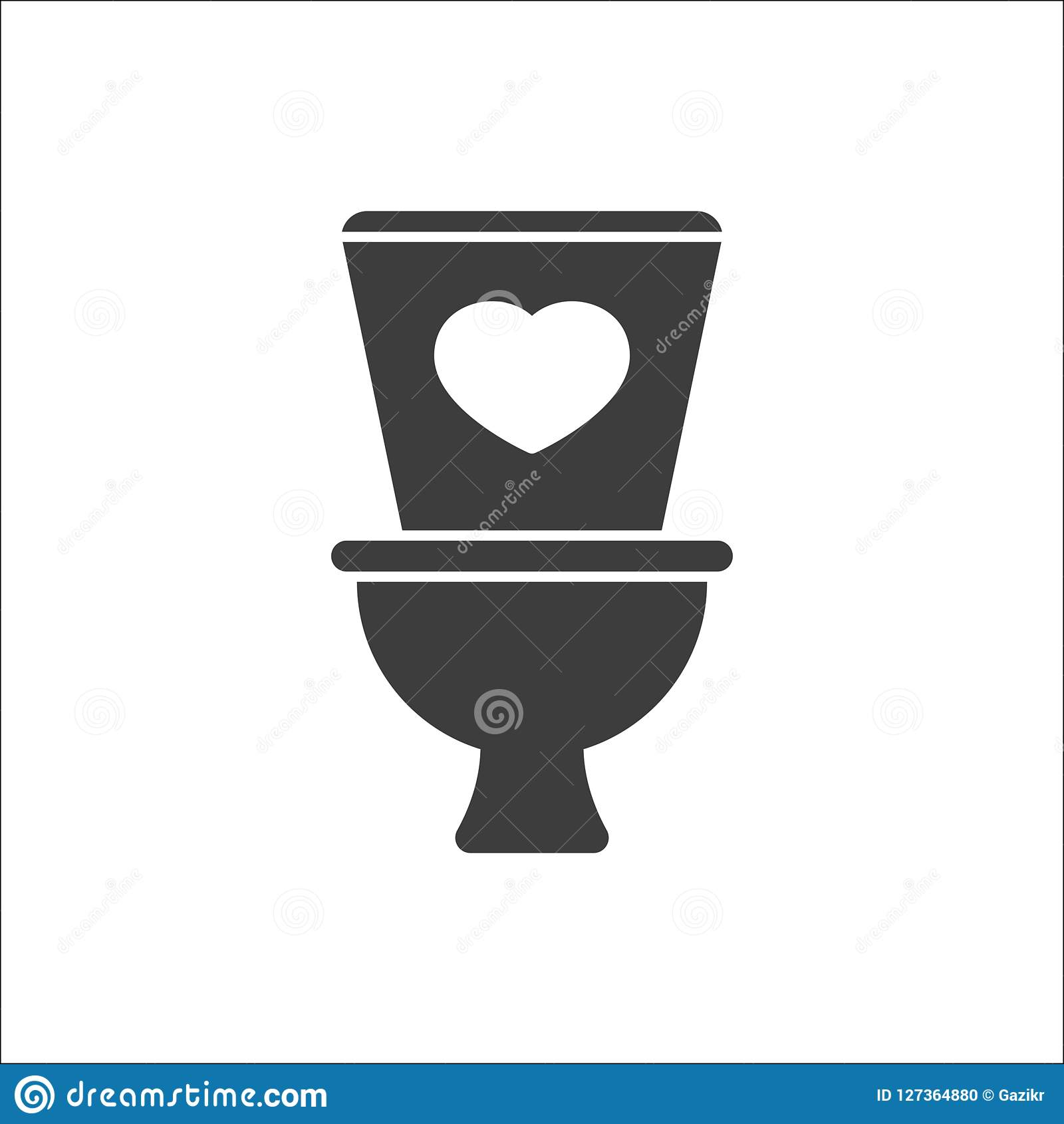 Toilet icon, Bathroom, restroom icon with heart sign. Toilet icon and favorite, like, love, care symbol