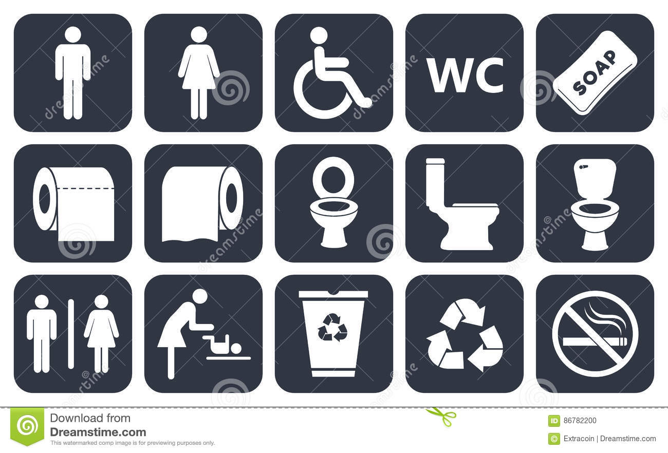 Toilet Icons Stock Vector Illustration Of Male Flat 86782200