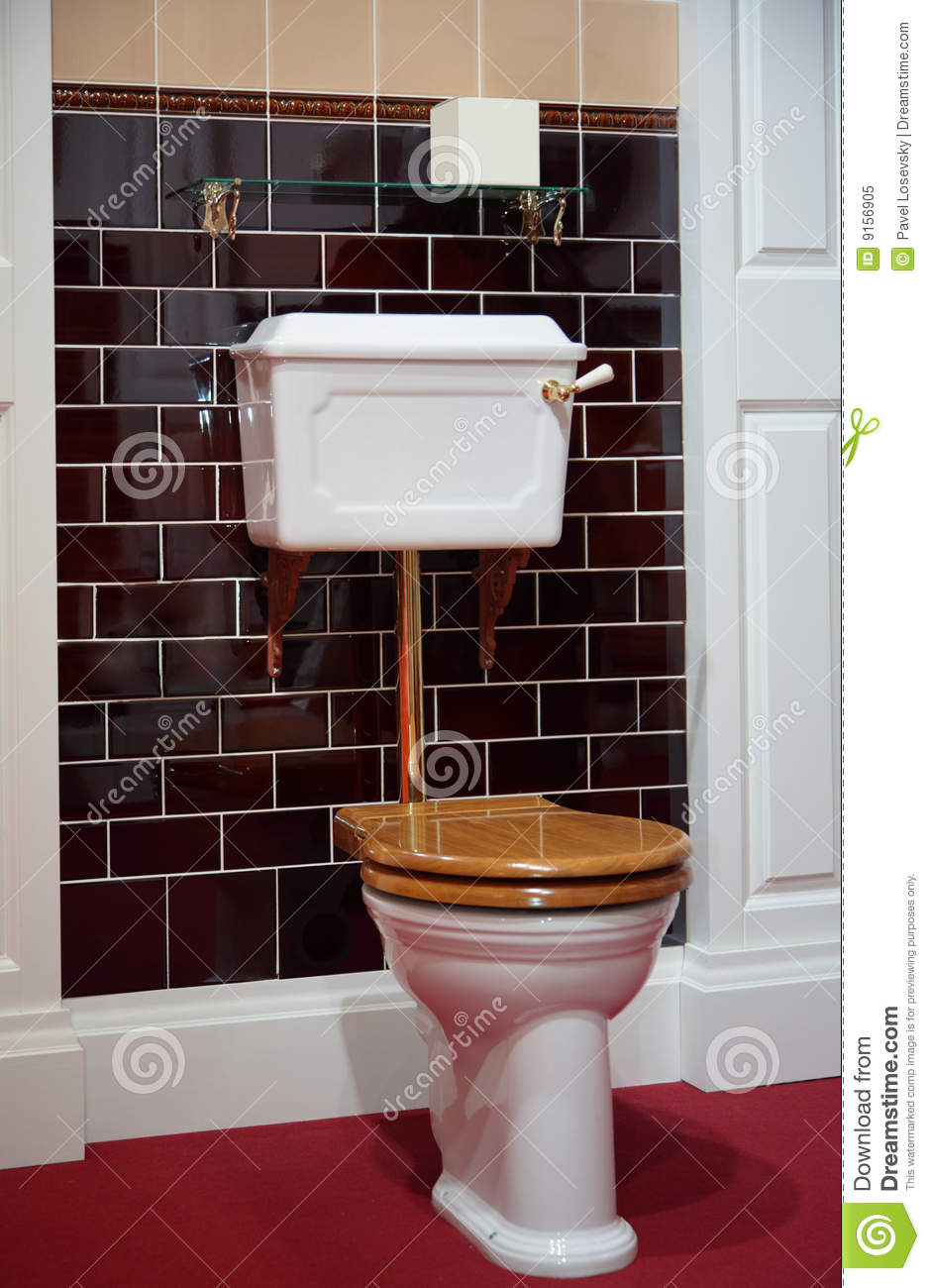 Toilet in old fashioned style stock image image of for Washroom style
