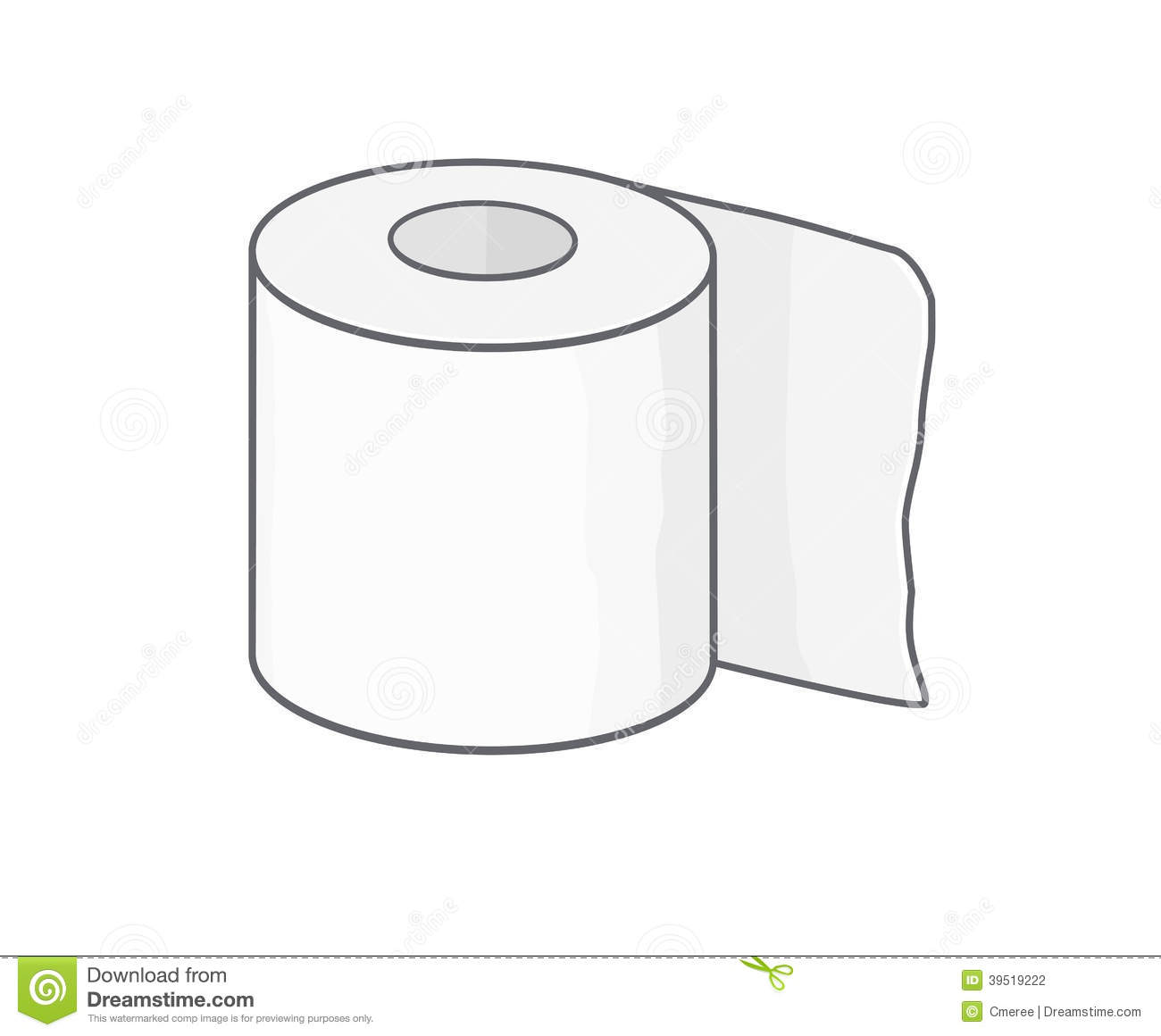 Drawing of an isolated reel of toilet paper.
