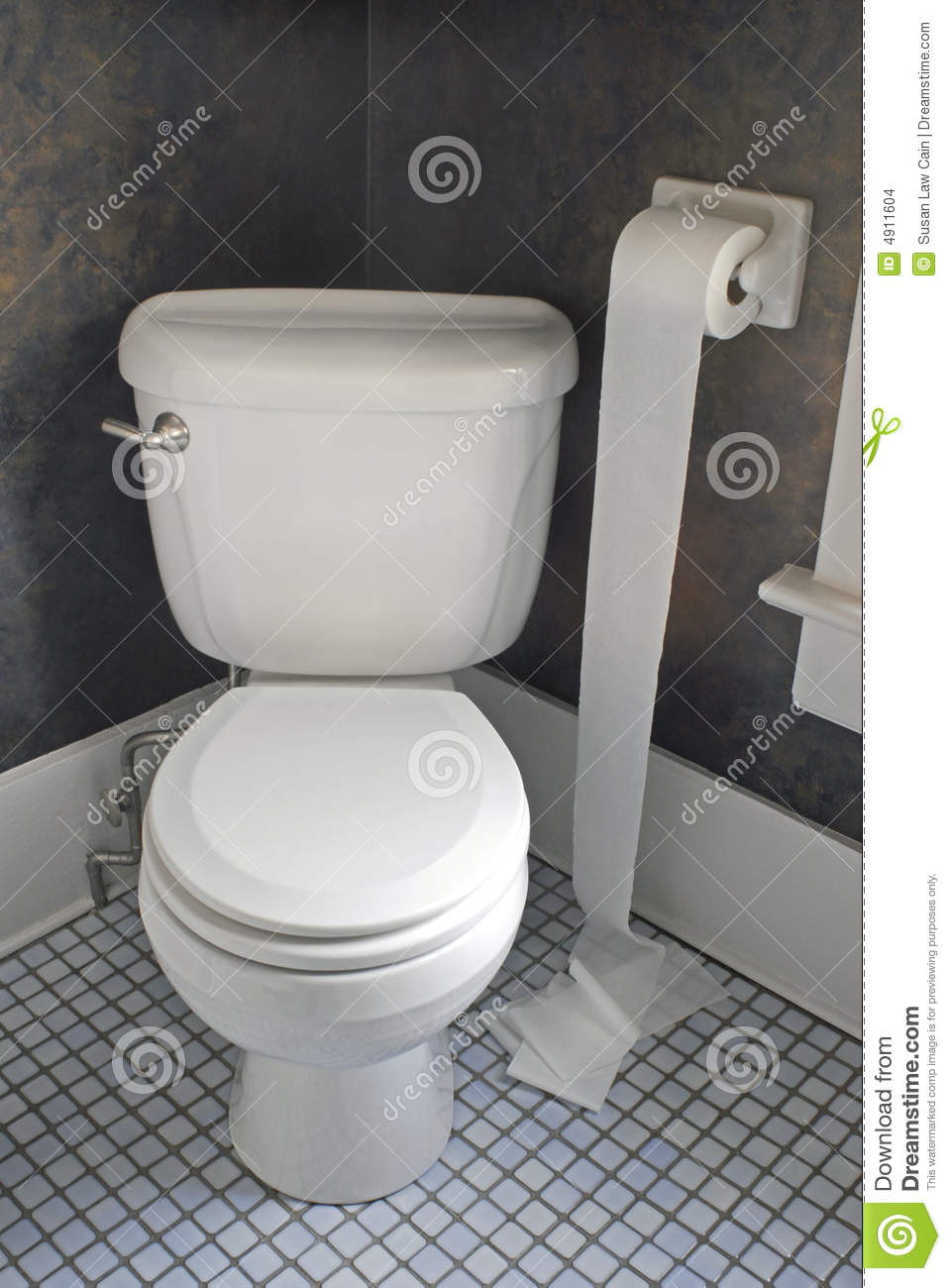 Toilet With Paper On Floor Stock Photo Image Of Health