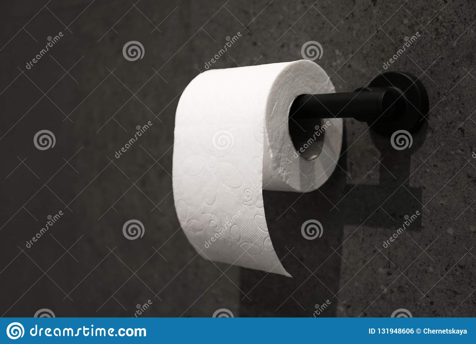 Toilet paper holder with roll mounted