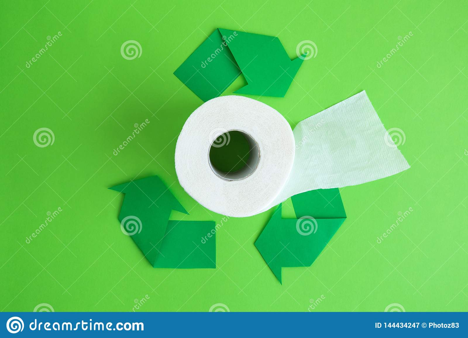 Toilet Paper Roll And Recycling Arrows Eco Abstract Stock