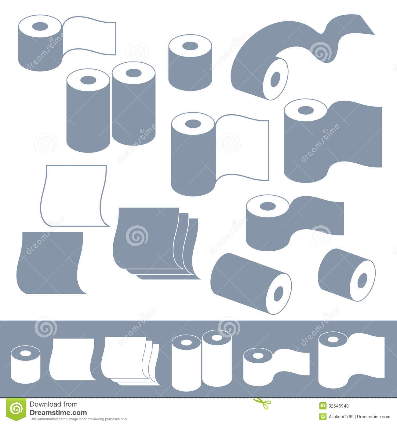 Toilet Paper  Set  Isolated objects on white background  Vector. Toilet Paper Vector