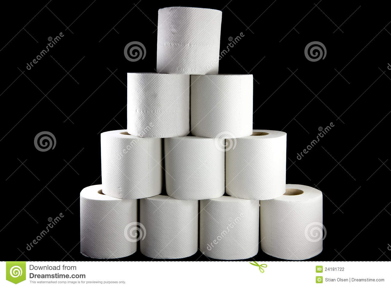 Picture of a bunch of toilet paper rolls formed as a pyramid.