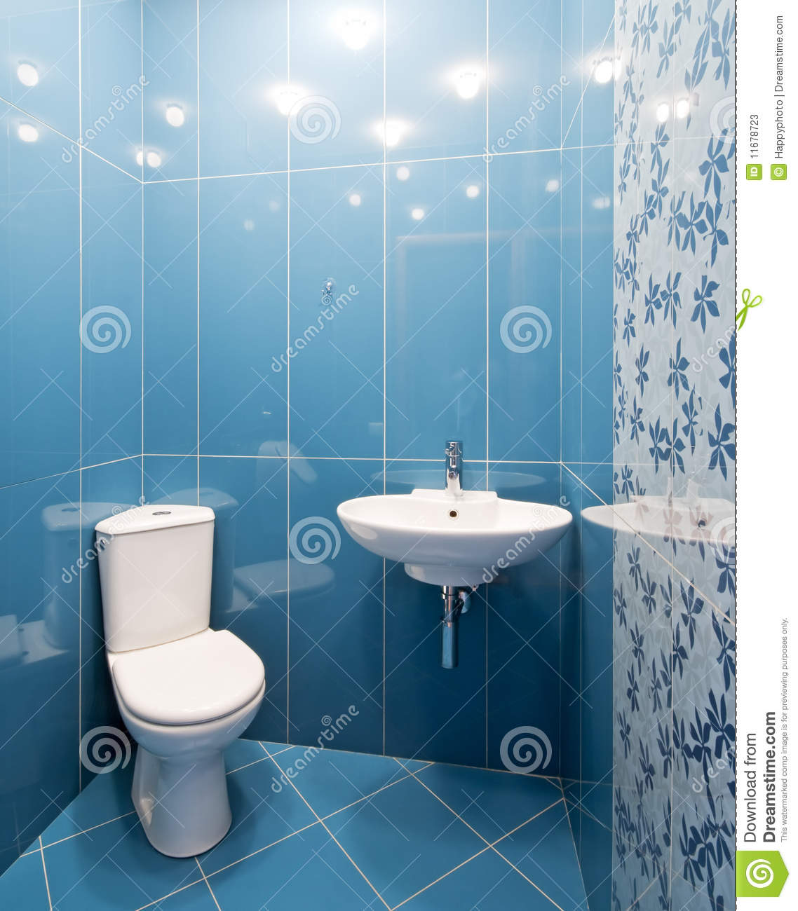 Toilet Room In Blue Colors Stock Image Image Of Tiled