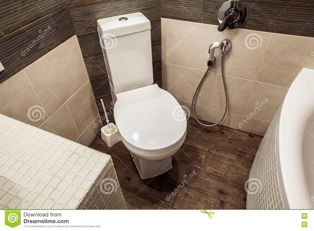 Toilet Room In Scandinavian Style, Decorated With White Built-in ...
