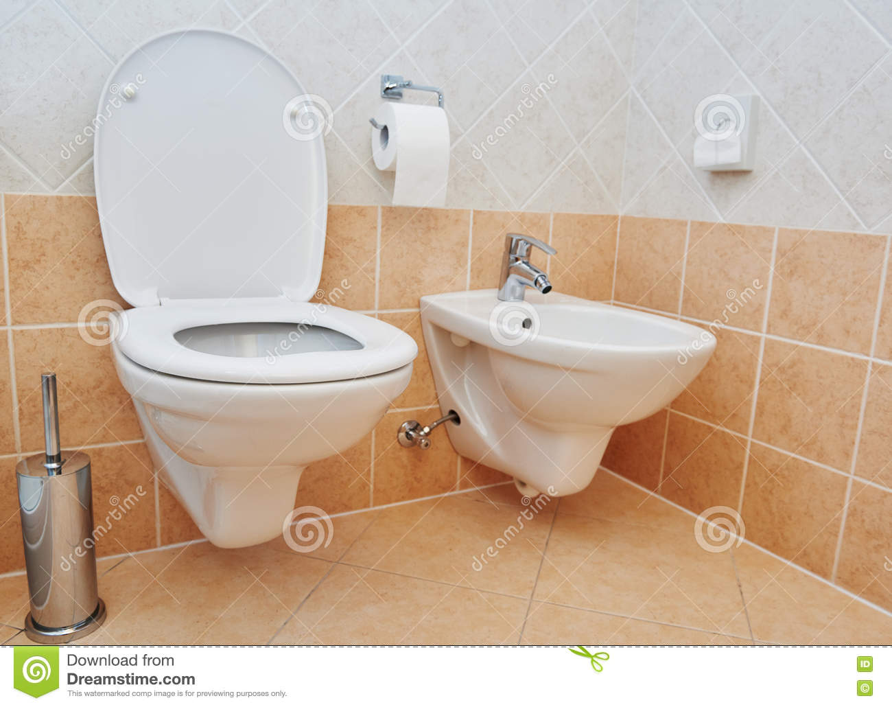 Toilet Sanitary Sink Or Bowl Bidet And Paper Stock Photo - Image of ...