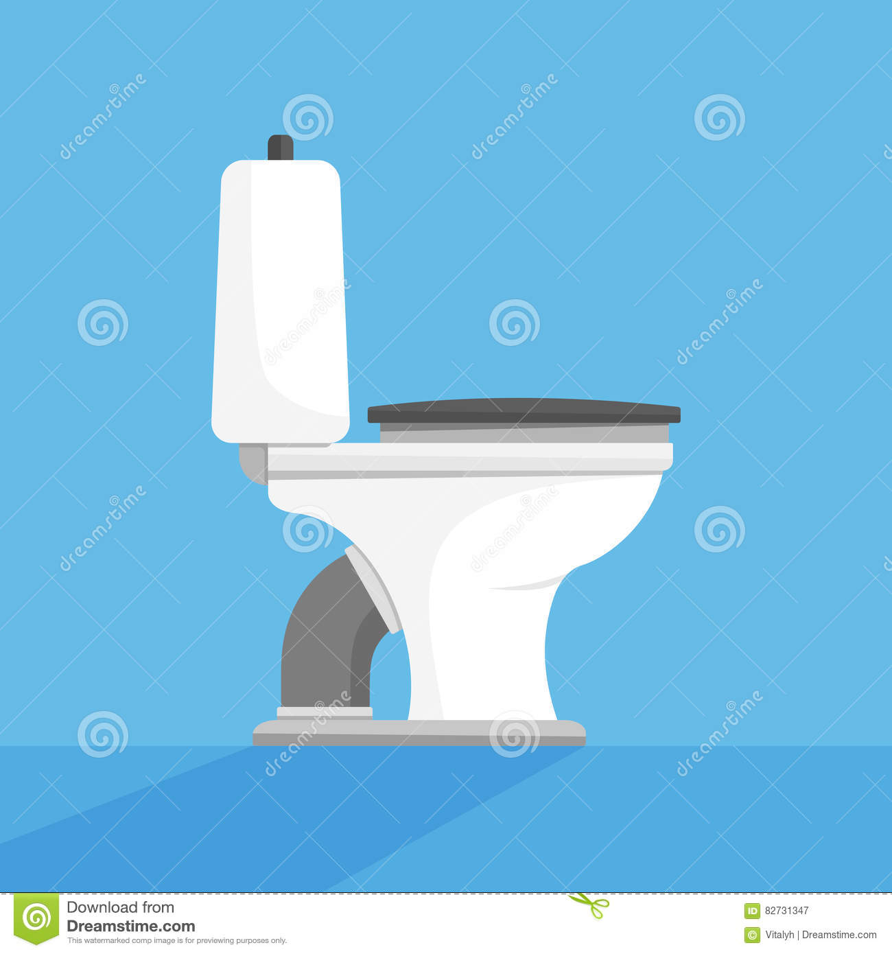 Toilet Seat Bowl Flat Vector Illustration