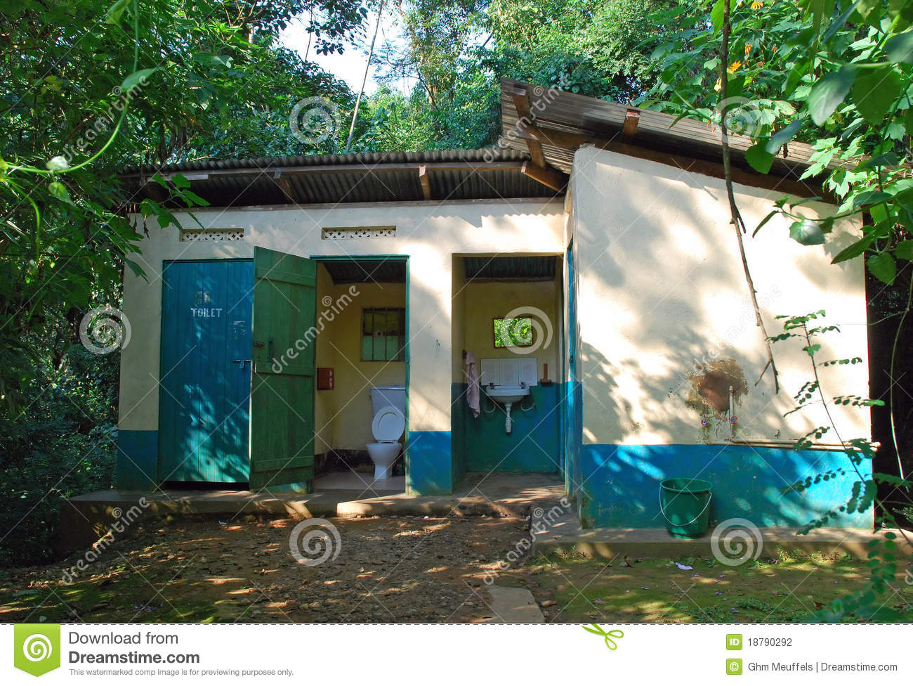 Toilet and shower building at an African site