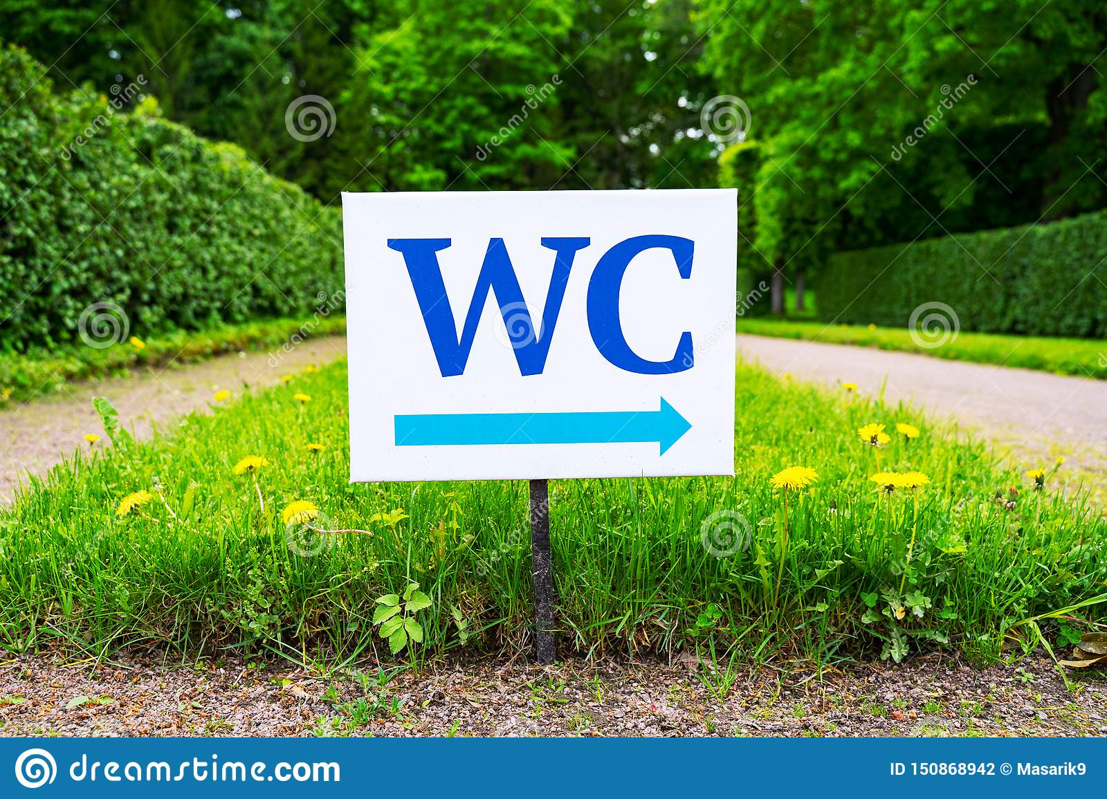 Toilet sign against the background of green trees in the park. White WC sign on white metal plate with blue pointing arrow indica