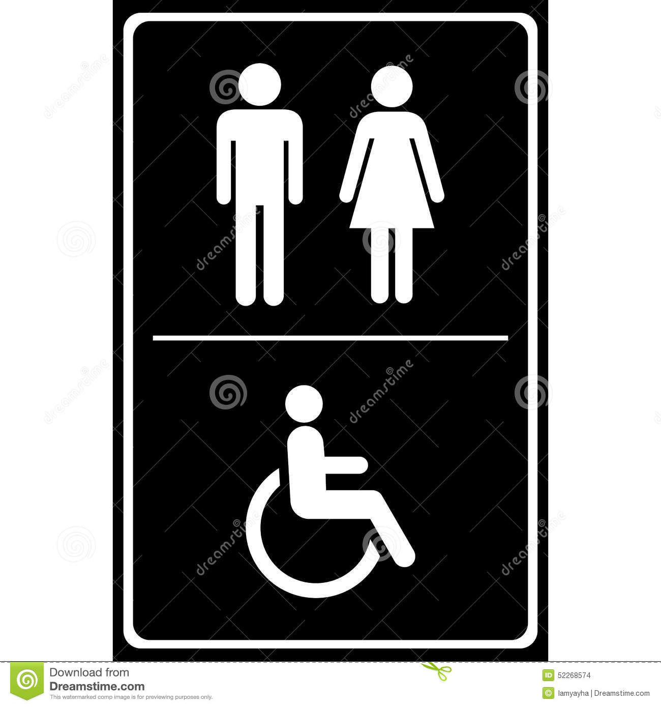Bathroom Sign Handicap toilet sign with black background, man sign, women sign, handicap