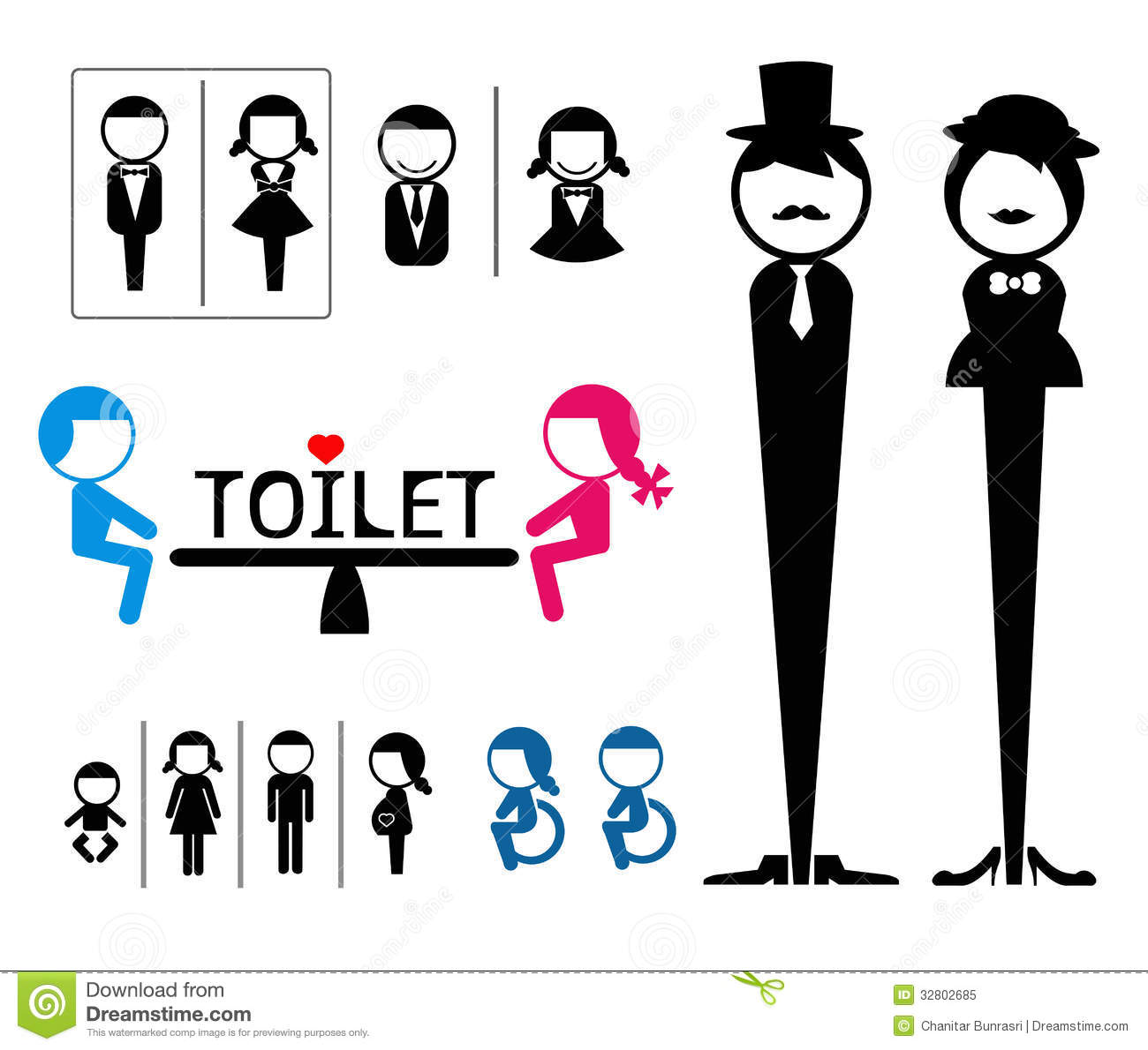 Toilet Sign Stock Vector. Illustration Of Door, People