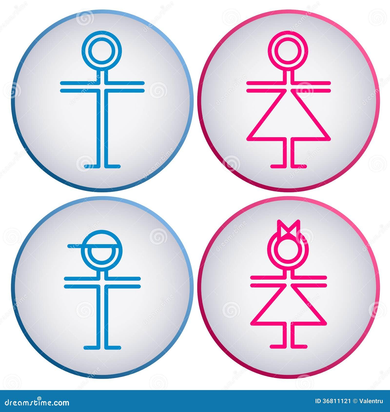Bathroom Sign Boy Girl toilet symbol, bathroom man and woman sign stock illustration