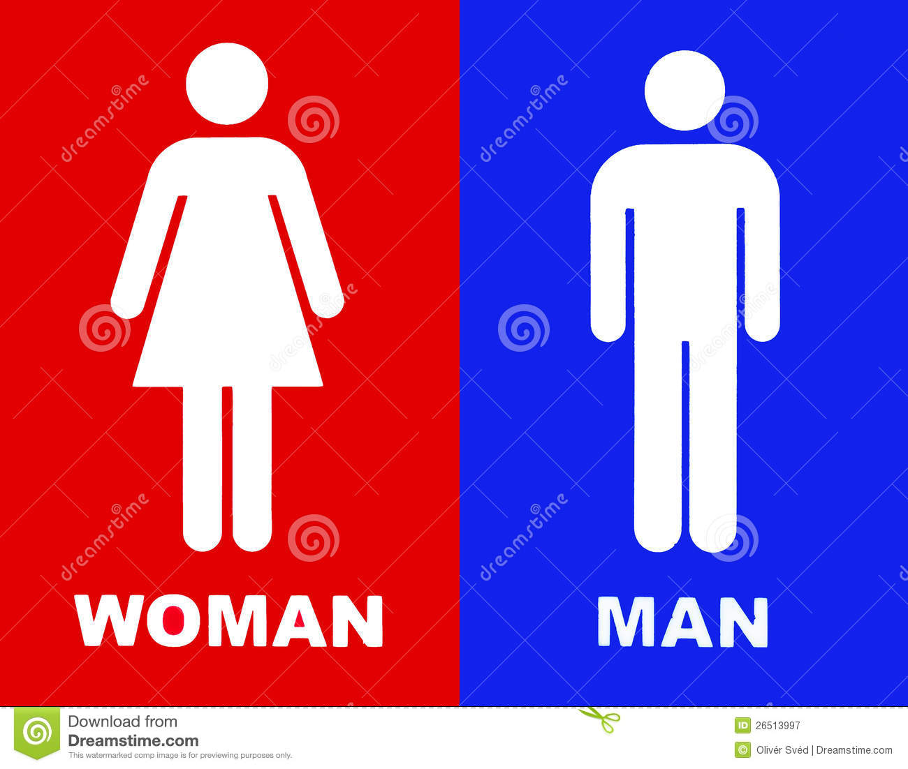Toilet Sign In Red And Blue